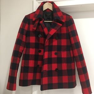 J.Crew Buffalo Plaid Pea Coat Brand New
